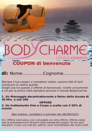 Coupon di Benvenuto Bodycharme